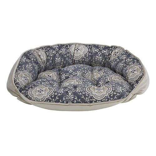 Bowsers Crescent Bolstered Dog Bed — Sussex Jacquard / Almond Jacquard Reverse