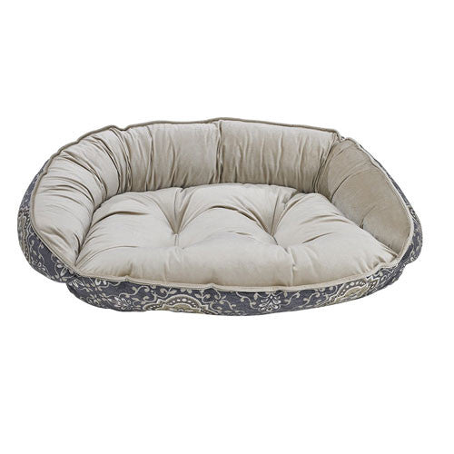 Bowsers Crescent Bolstered Dog Bed — Sussex Jacquard / Almond Jacquard
