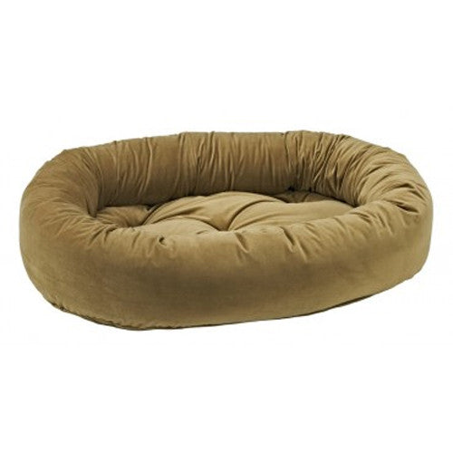 Bowsers EuroVelvet Donut Bolstered Nesting Dog Bed — Toffee
