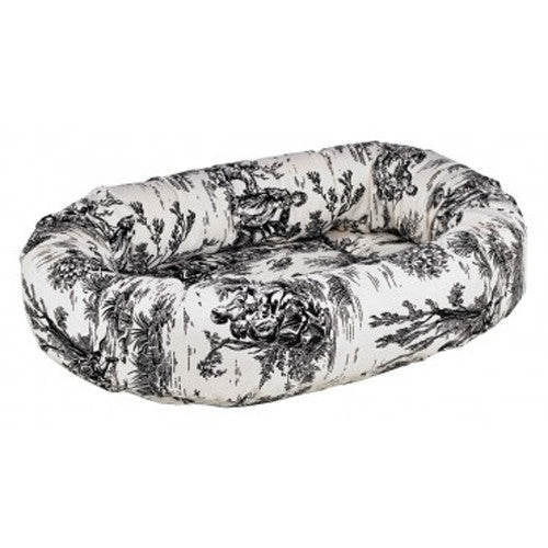 Bowsers MicroVelvet Donut Bolstered Nesting Dog Bed — Onyx Black Toile