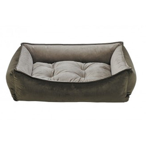 Bowsers MicroVelvet Scoop Bolstered Nesting Dog Bed — Hickory