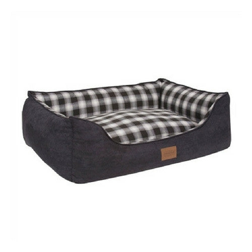 Carolina Pet Company Classic Pendleton Kuddler Dog Bed — Charcoal Ombre Side Angle View