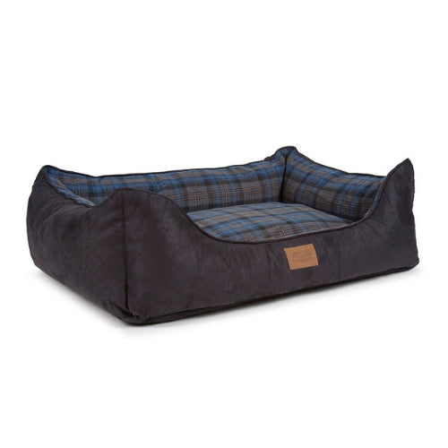 Carolina Pet Company Pendleton Kuddler Dog Bed — Crescent Lake Plaid Side Angle View