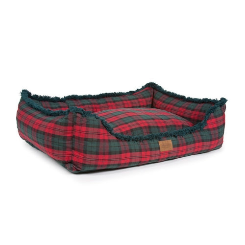 Carolina Pet Company Pendleton Kuddler Dog Bed — MacCormick Plaid Side Angle View
