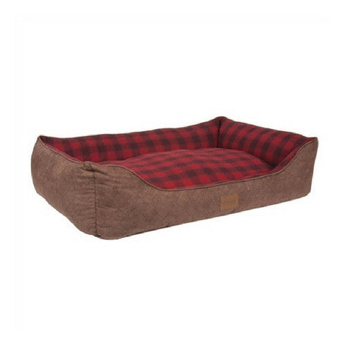 Carolina Pet Company Classic Pendleton Kuddler Dog Bed — Red Ombre Side Angle View