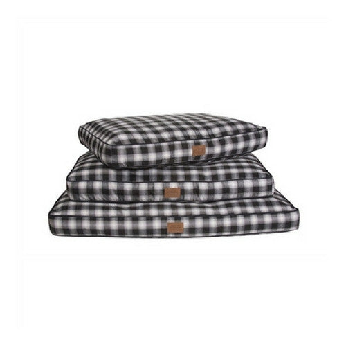 Carolina Pet Company Classic Pendleton Napper Dog Bed — Charcoal Ombre Plaid Stack of Sizes