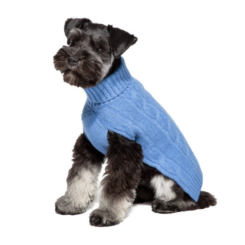 Canine Styles Cashmere Cable Knit Dog Sweater Blue on Dog