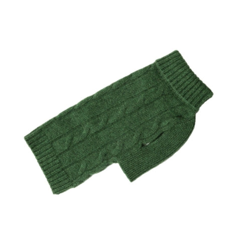 Canine Styles Cashmere Cable Knit Dog Sweater Green