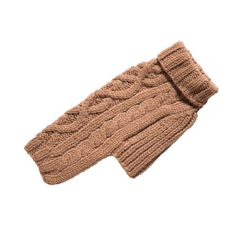 Canine Styles Handmade Nantucket Cable Knit Wool Dog Sweater — Camel