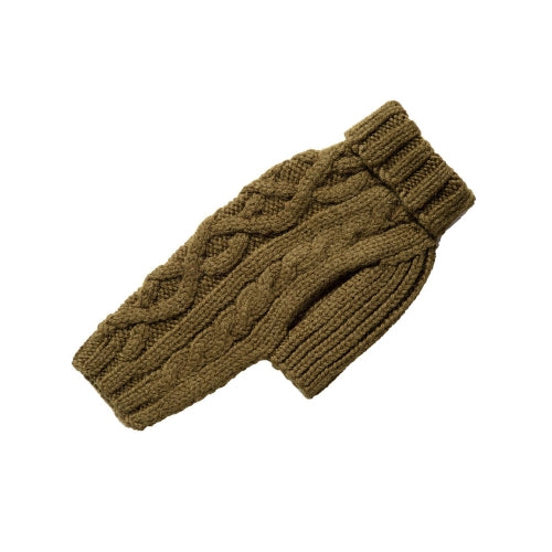 Canine Styles Handmade Nantucket Cable Knit Wool Dog Sweater — Loden