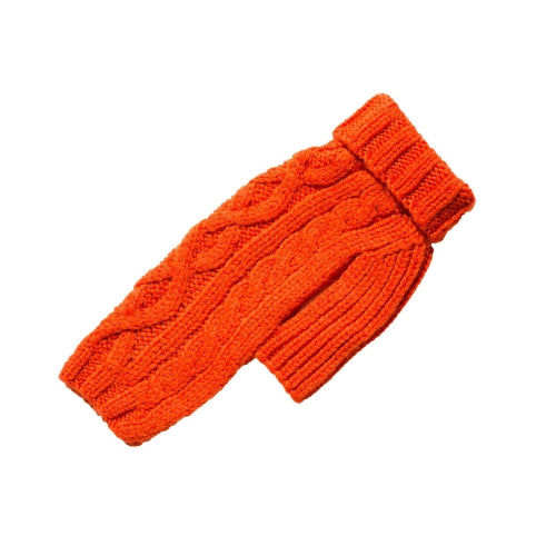 Canine Styles Handmade Nantucket Cable Knit Wool Dog Sweater — Orange