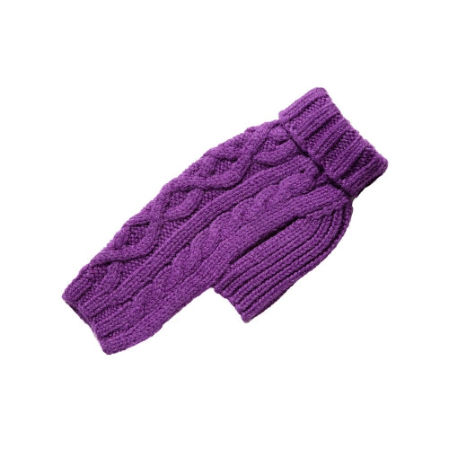 Canine Styles Handmade Nantucket Cable Knit Wool Dog Sweater — Purple
