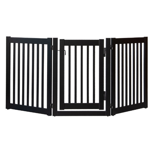 Dynamic Accents Folding Highlander Freestanding Walk Through Pet Gate 3 Panel Black