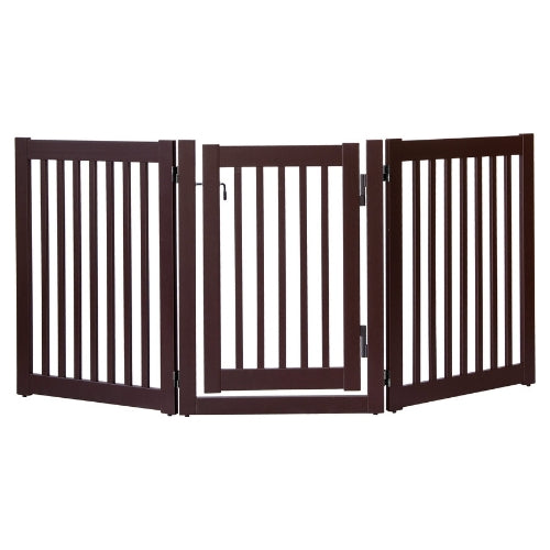 Dynamic Accents Folding Highlander Freestanding Walk Through Pet Gate 3 Panel Mahagony