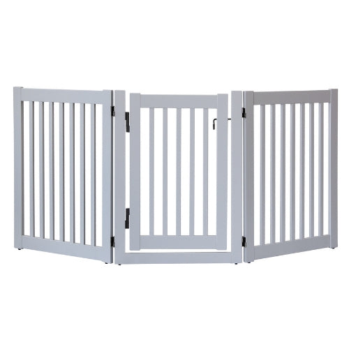 Dynamic Accents Folding Highlander Freestanding Walk Through Pet Gate 3 Panel Pumice Grey