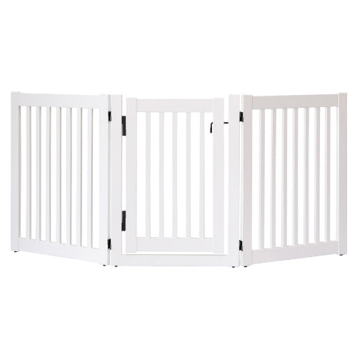 Dynamic Accents Folding Highlander Freestanding Walk Through Pet Gate 3 Panel White