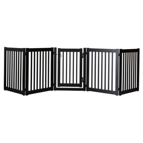 Dynamic Accents Folding Highlander Freestanding Walk Through Pet Gate 5 Panel Black