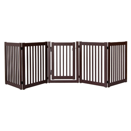 Dynamic Accents Folding Highlander Freestanding Walk Through Pet Gate 5 Panel Mahagony