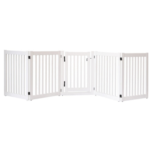 Dynamic Accents Folding Highlander Freestanding Walk Through Pet Gate 5 Panel White