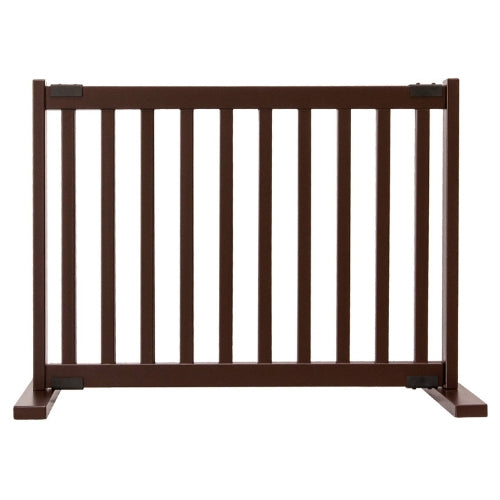 Dynamic Accents Adjustable Hardwood Kensington Freestanding Pet Gate Small Mahagony