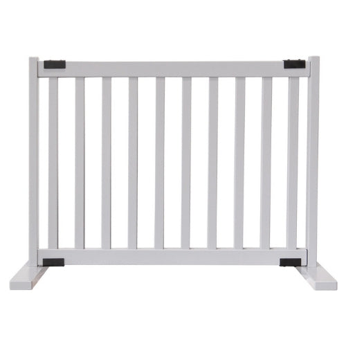 Dynamic Accents Adjustable Hardwood Kensington Freestanding Pet Gate Small Pumice Grey
