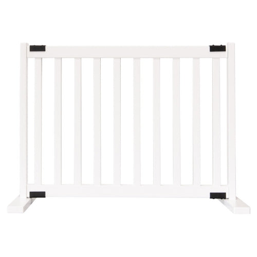 Dynamic Accents Adjustable Hardwood Kensington Freestanding Pet Gate Small White