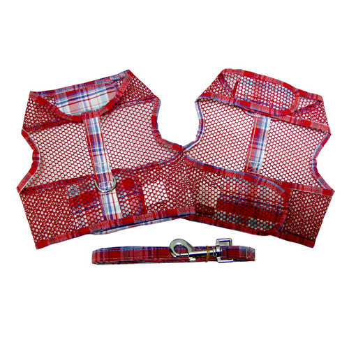 Doggie Design Cool Netted Mesh Dog Harness — Red Plaid