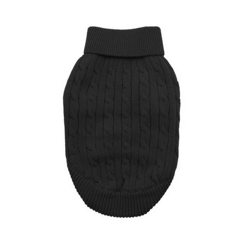 Doggie Design Cotton Cable Knit Turtleneck Dog Sweater Jet Black
