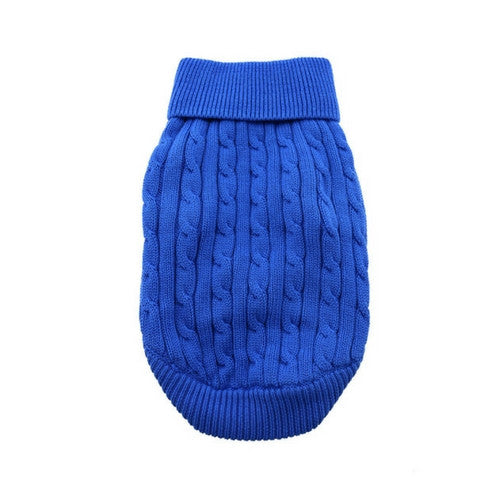 Doggie Design Cotton Cable Knit Turtleneck Dog Sweater Riverside Blue