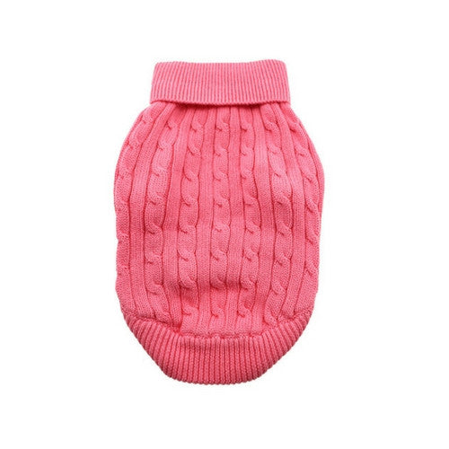 Doggie Design Cotton Cable Knit Turtleneck Dog Sweater Candy Pink