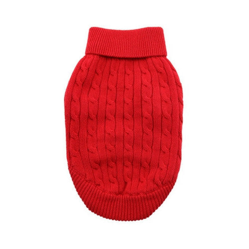 Doggie Design Cotton Cable Knit Turtleneck Dog Sweater Fiery Red