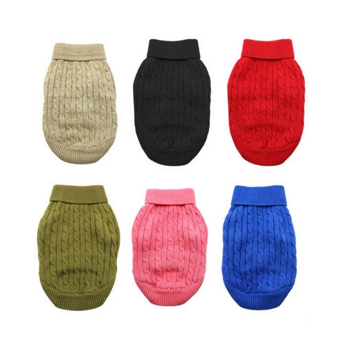 Doggie Design Cotton Cable Knit Turtleneck Dog Sweater All Colors