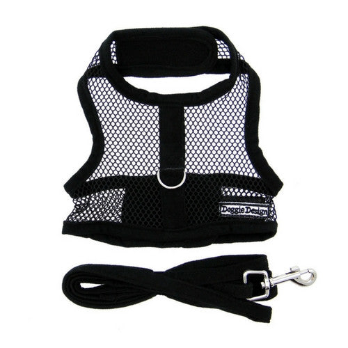Doggie Design Cool Netted Mesh Dog Harness — Black