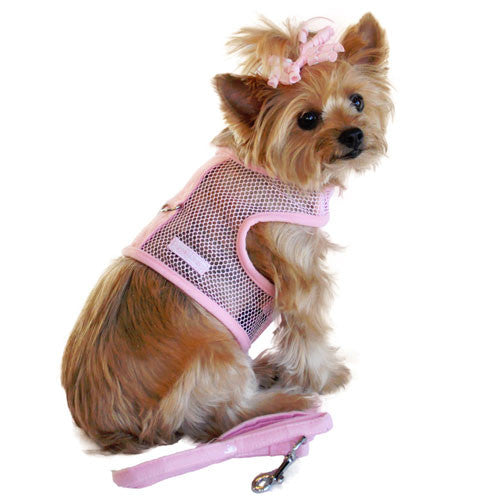 Doggie Design Cool Netted Mesh Dog Harness — Pink On Dog