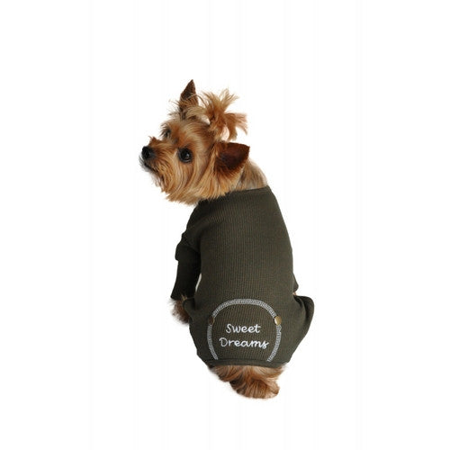 Doggie Design Sweet Dreams Thermal Dog Pajamas — Herb Green on Dog