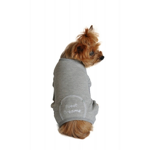 Doggie Design Sweet Dreams Thermal Dog Pajamas — Alloy Gray on Dog