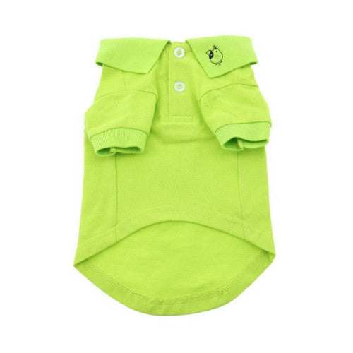 Doggie Deisgn Solid Polo Style Collared Dog Shirt Green Flash