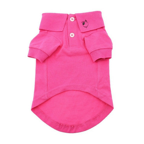 Doggie Deisgn Solid Polo Style Collared Dog Shirt Raspberry Sorbet