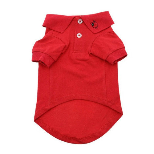 Doggie Deisgn Solid Polo Style Collared Dog Shirt Flame Scarlett Red