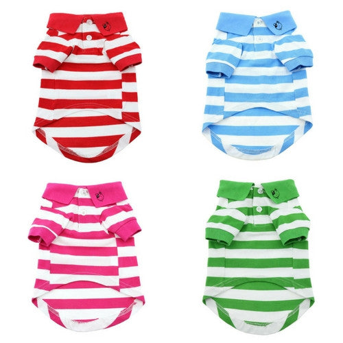 Doggie Design Striped Polo Style Collared Dog Shirt