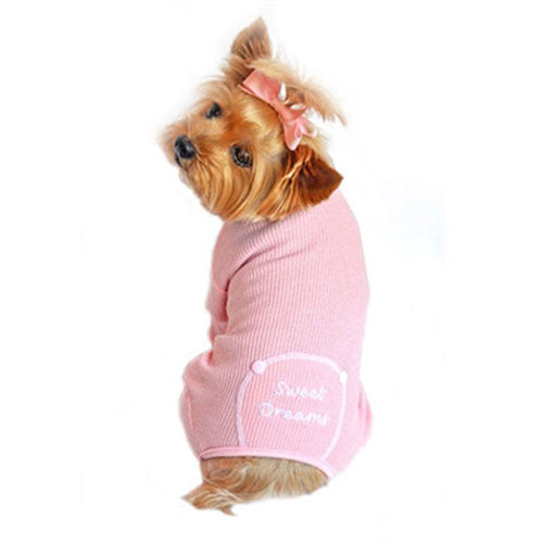Doggie Design Sweet Dreams Thermal Dog Pajamas — Pink on Dog