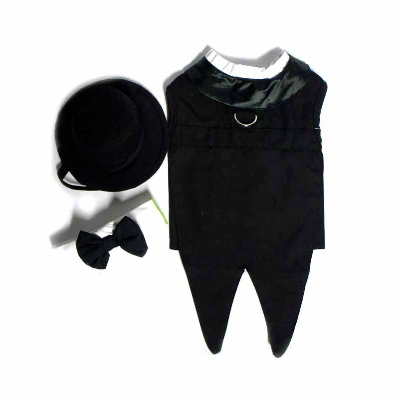 Doggie Design Formal Black Tie Dog Tuxedo with Tails and Top Hat Set View