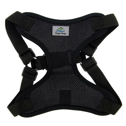 Doggie Design Wrap and Snap Choke Free Dog Harness Black Front