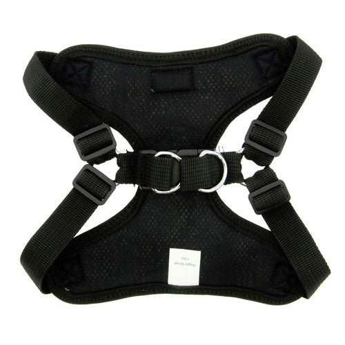 Doggie Design Wrap and Snap Choke Free Dog Harness Black Back