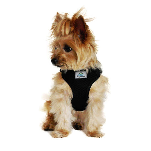 Doggie Design Wrap and Snap Choke Free Dog Harness Black on Dog