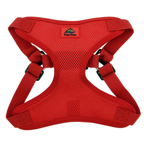 Doggie Design Wrap and Snap Choke Free Dog Harness Flame Red Front