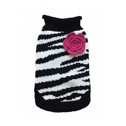 Dallas Dogs Stylish Zebra Rose Acrylic Dog Sweater