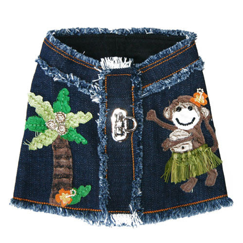 Dog in The Closet Hula Monkey Denim Vest Harness Back