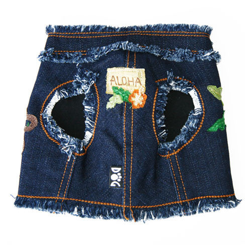 Dog in The Closet Hula Monkey Denim Vest Harness Front