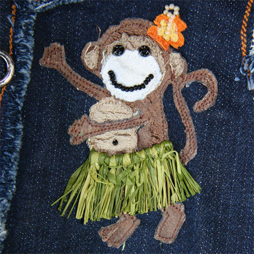 Dog in The Closet Hula Monkey Denim Vest Harness Hula Monkey Applique Detail